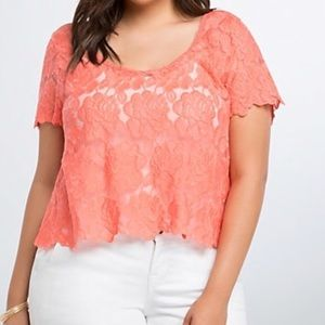 Torrid Embroidered Lace Crop Top